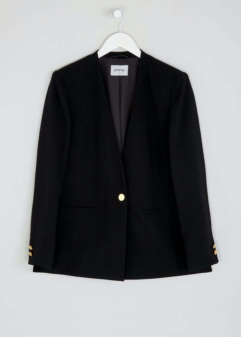 Soon Black Collarless Blazer