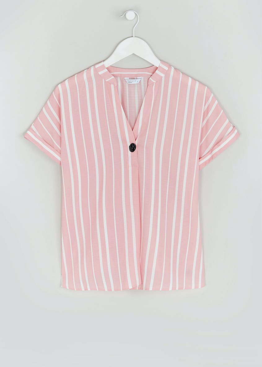 Pink Short Sleeve Stripe Button Detail Blouse