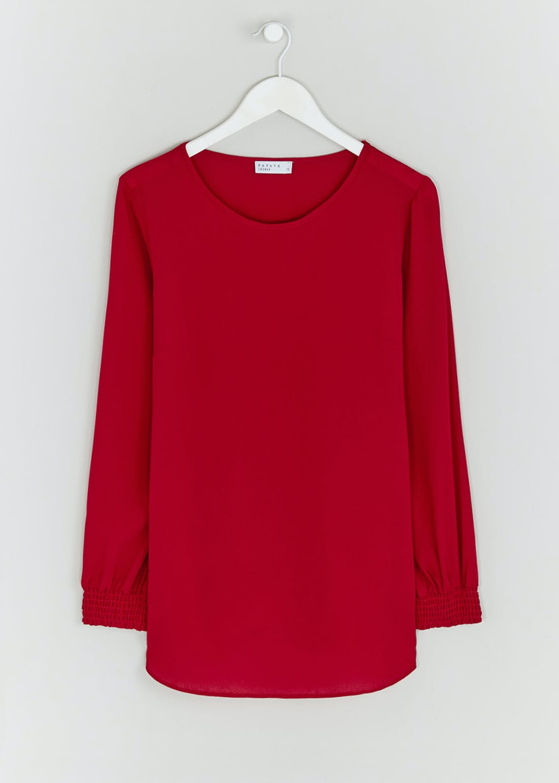 Red Long Sleeve Longline Blouse