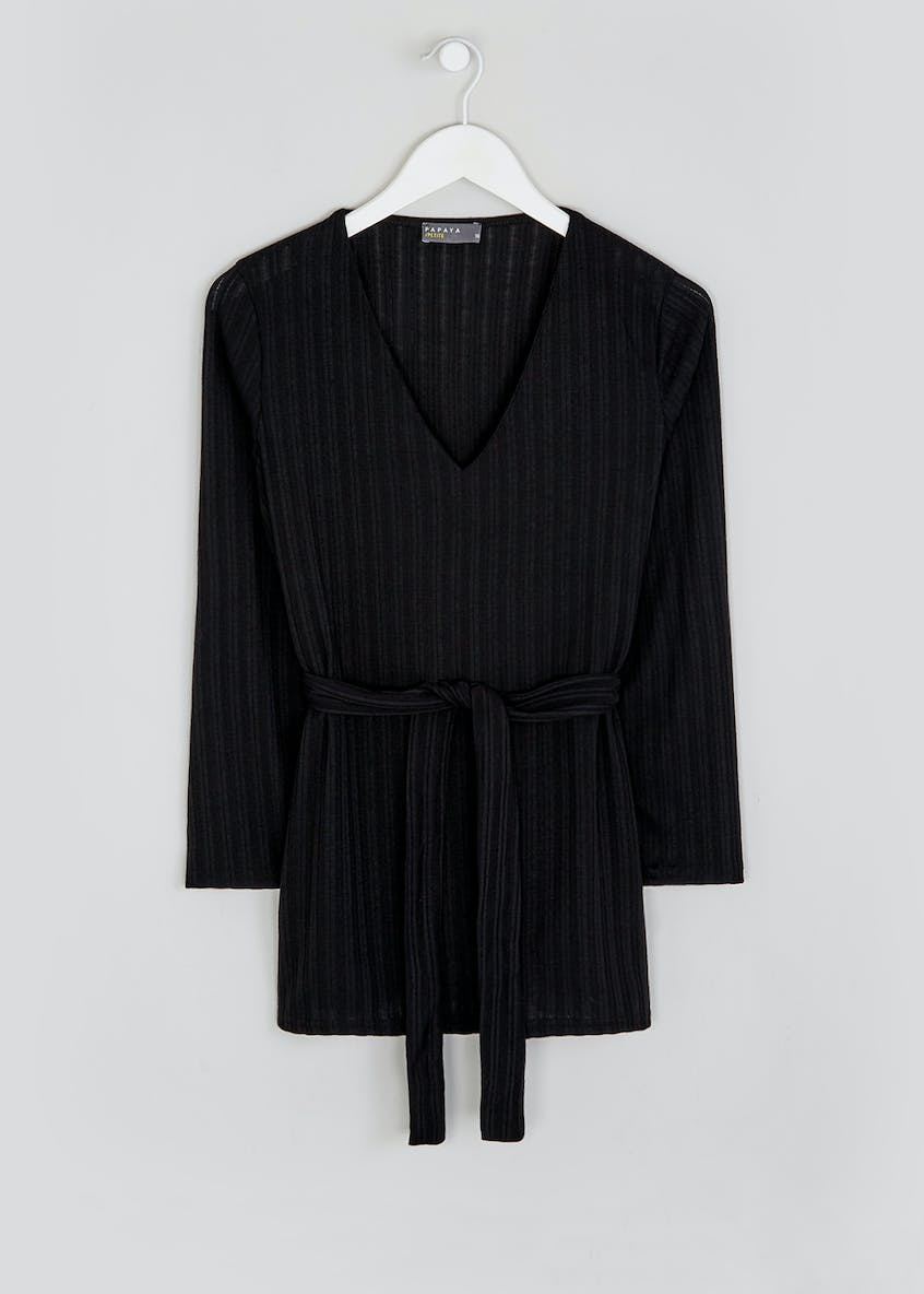 Papaya Petite Long Sleeve Ribbed Belted Co-Ord Top