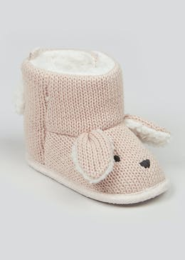 Unisex Brown Soft Sole Knitted Bunny Boots (Newborn-18mths)