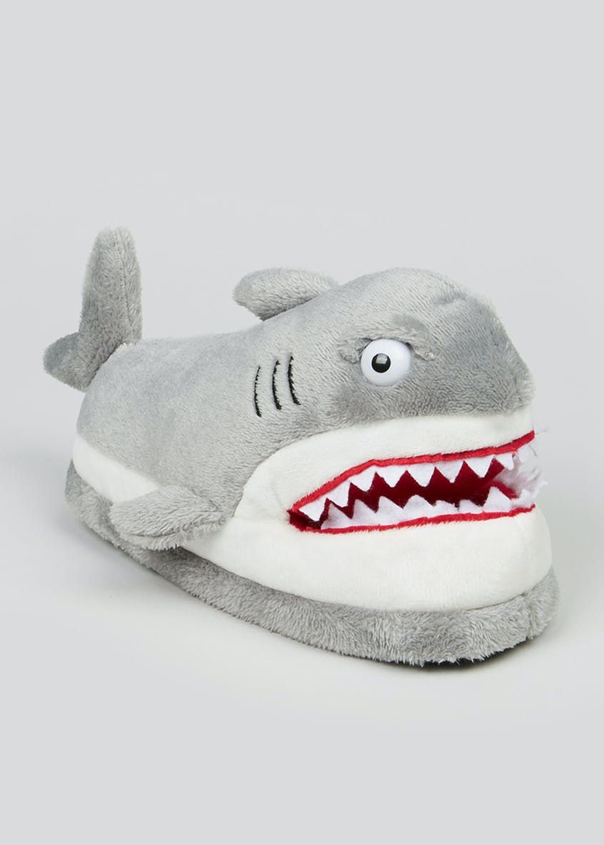 Kids Grey Shark Slippers (Younger 10-Older 6)