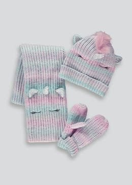 Girls Unicorn Hat & Mittens Set (7-13yrs)