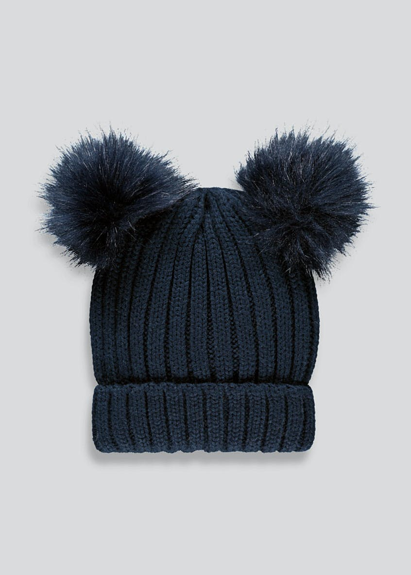 Girls Double Pom Pom Bobble Hat (7-13yrs)