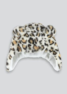 Girls Leopard Faux Fur Trapper Hat (3-6yrs)