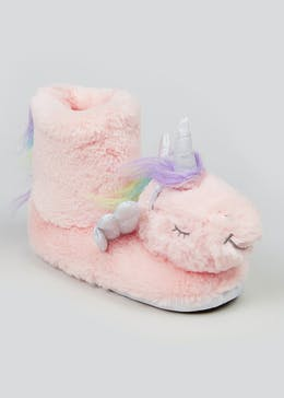 Girls Pink Unicorn Slipper Boots (Younger 10-Older 5)