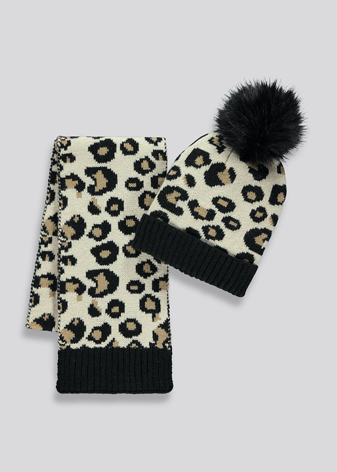 Girls Leopard Print Hat & Scarf Set (7-13yrs)