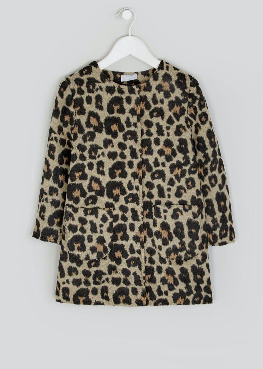Girls Leopard Print Formal Coat (4-13yrs)