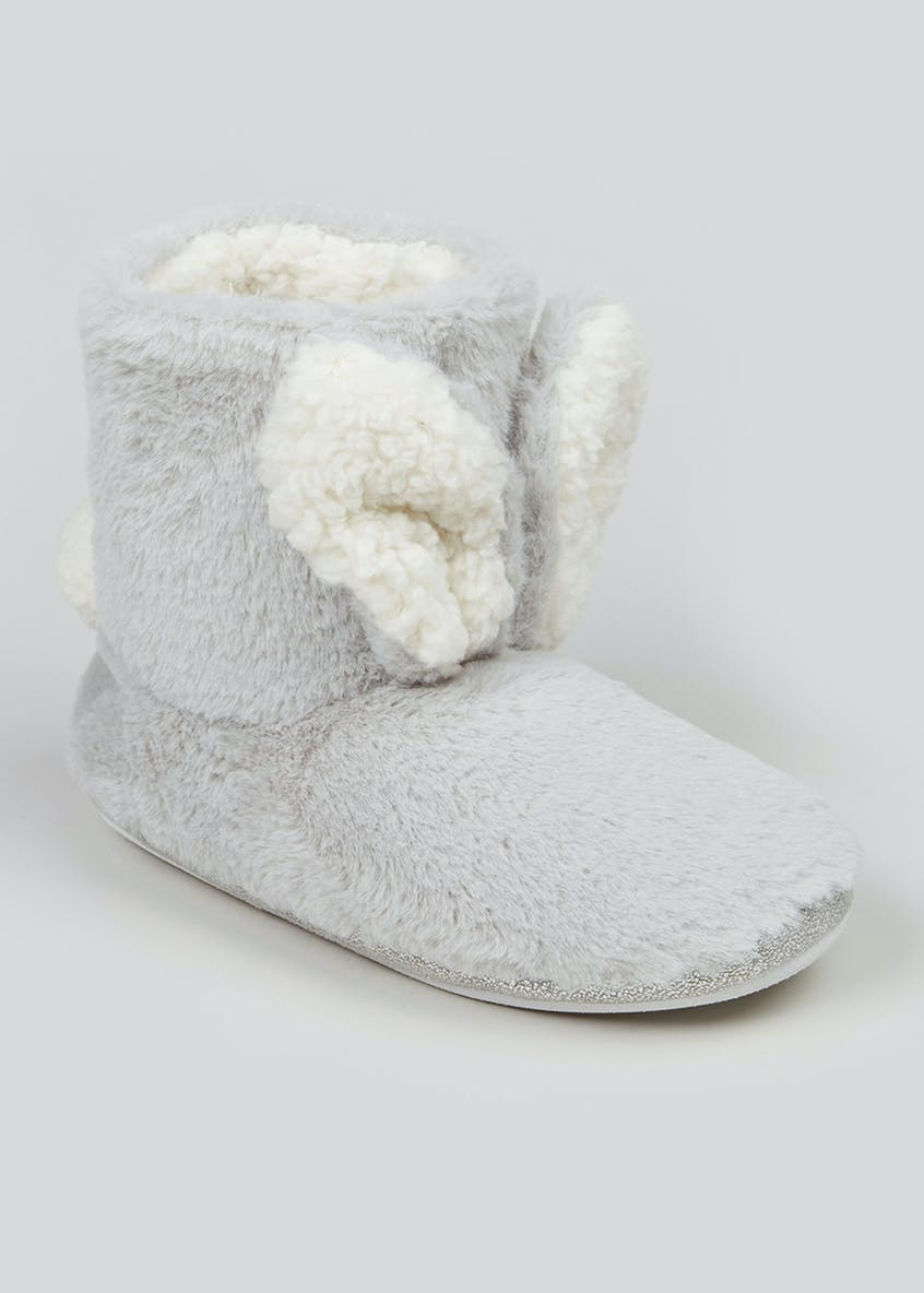 Grey Bunny Ear Slipper Boots