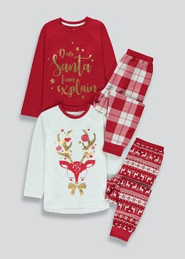 Kids 2 Pack Christmas Pyjamas (4-13yrs)