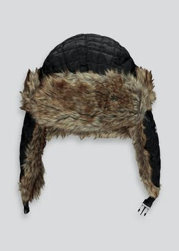 Quilted Fur Lined Trapper Hat