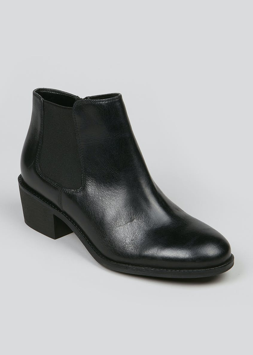 Soleflex Black Real Leather Heeled Chelsea Boots