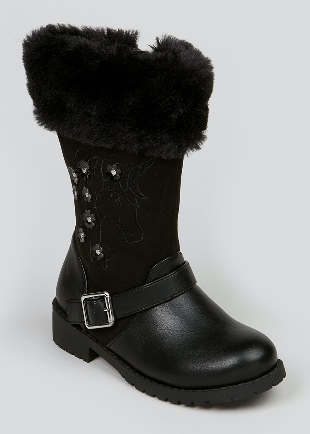 Girls Black Unicorn Boots (Younger 4-12