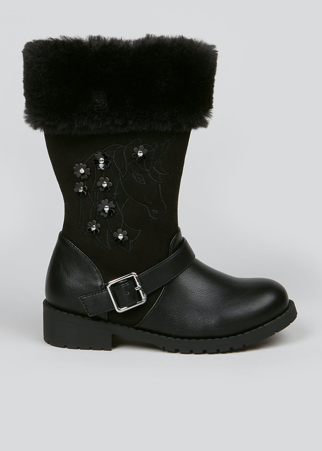 Girls Black Unicorn Boots (Younger 4-12)