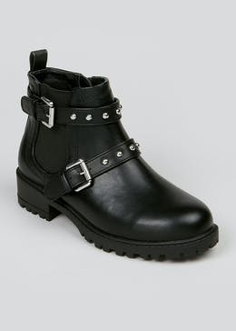 Girls Studded Cleated Ankle Boots (Younger 10-Older 5)