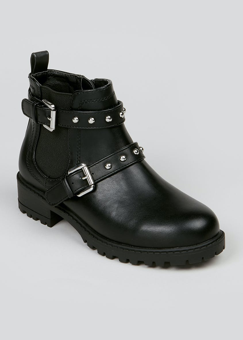 Girls Black Studded Ankle Boots (Younger 10-Older 5)
