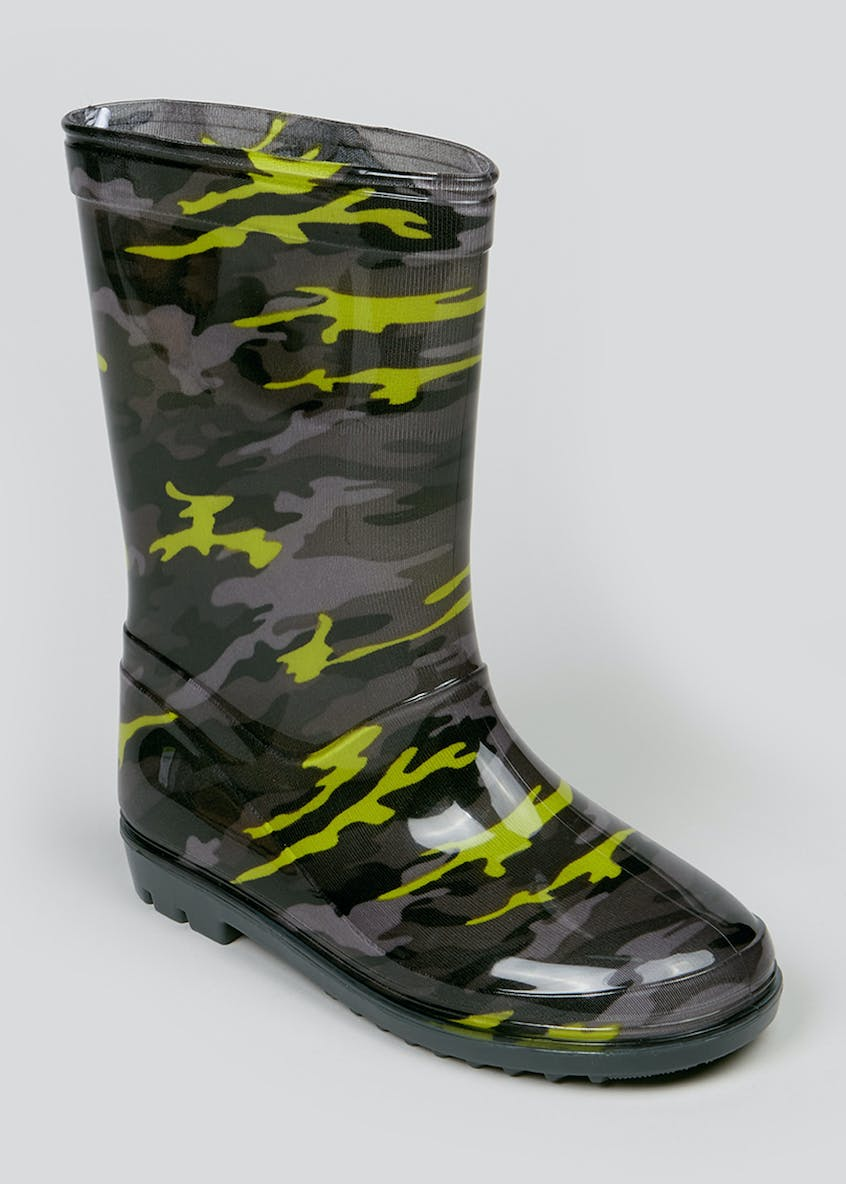 Kids Green Camo Print Wellies (Younger 10-Older 6)
