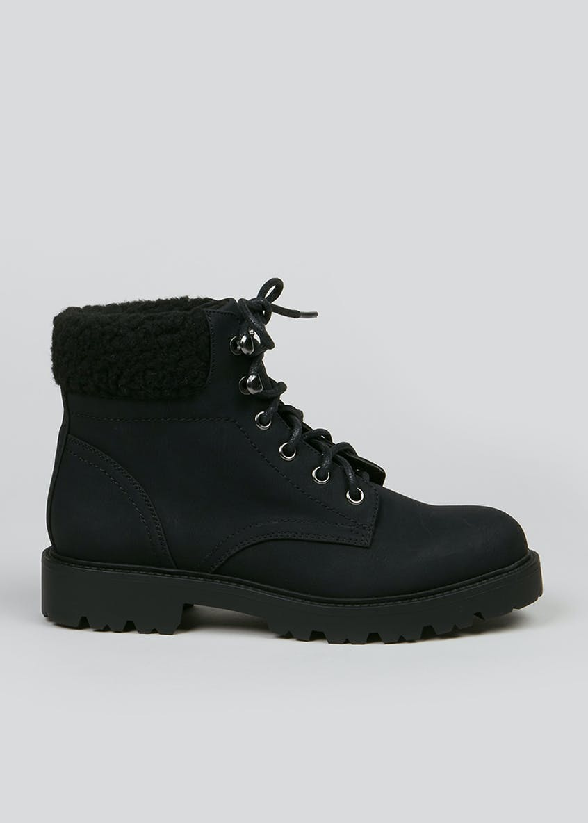 Borg Trim Lace Up Boots