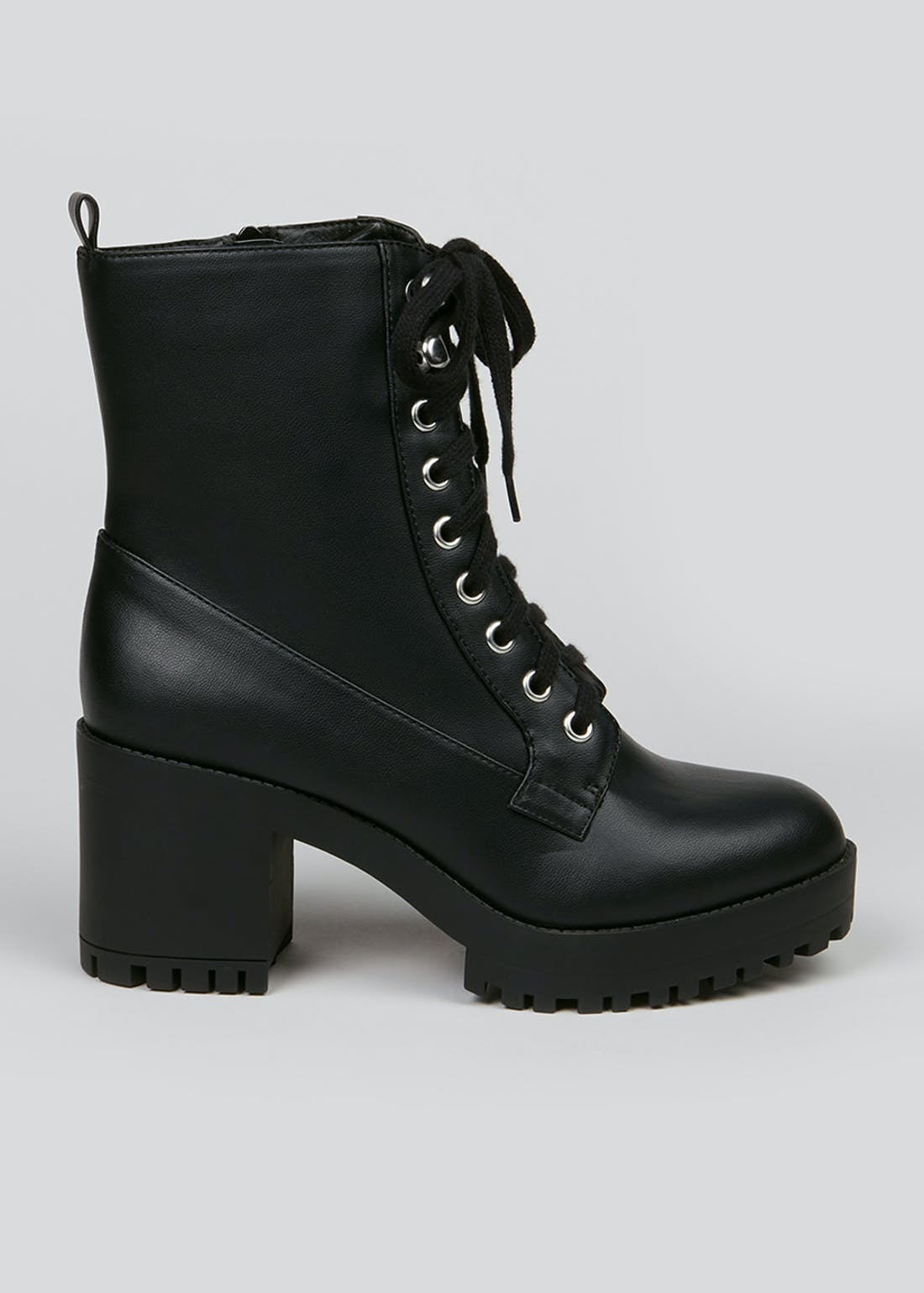Wide Fit Black Lace Up Boots