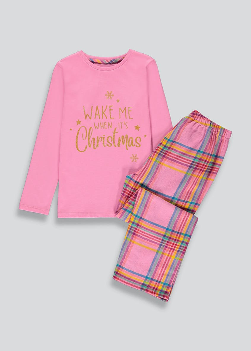 Girls Mini Me Christmas Check Pyjama Set (4-13yrs)