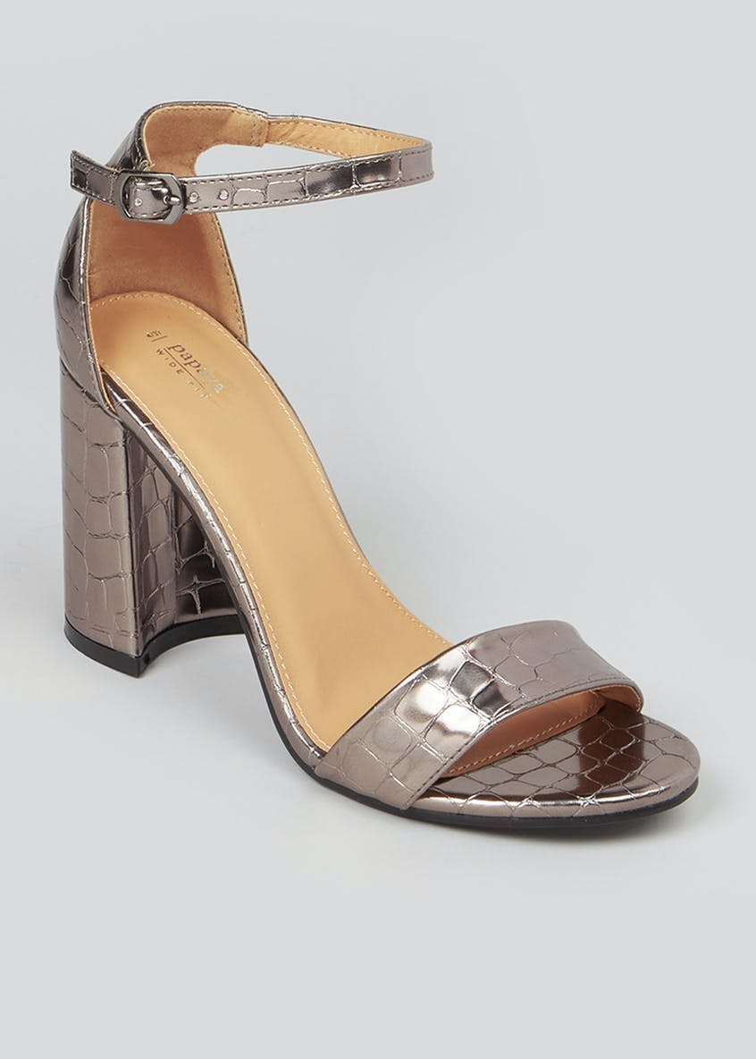 Wide Fit Metallic Block Heel Sandals