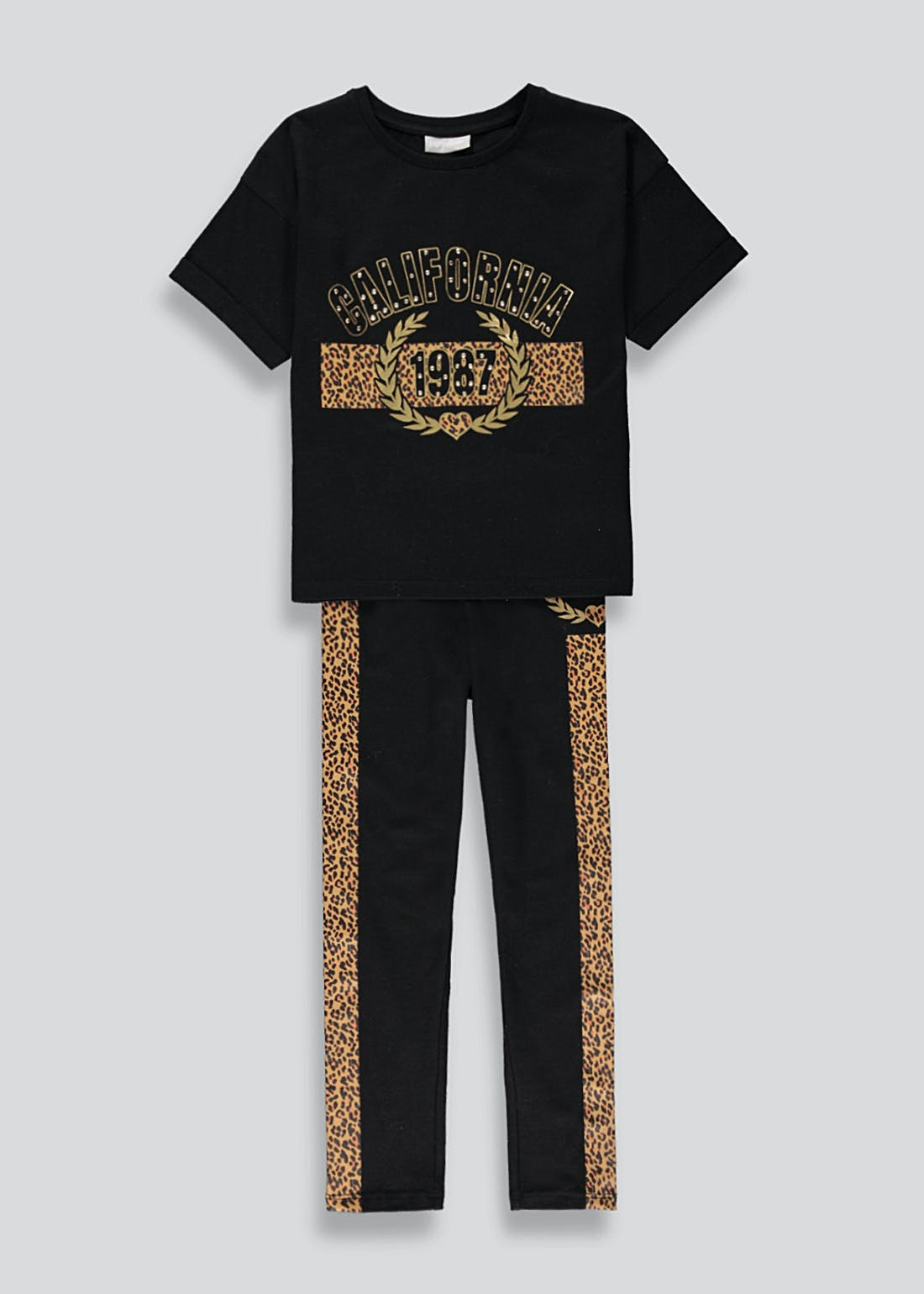 Girls Leopard Slogan T-Shirt & Leggings Set (4-13yrs)