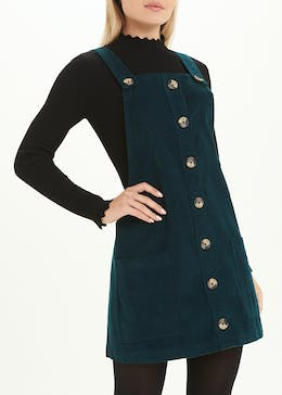 Teal Cord Pinafore Dress