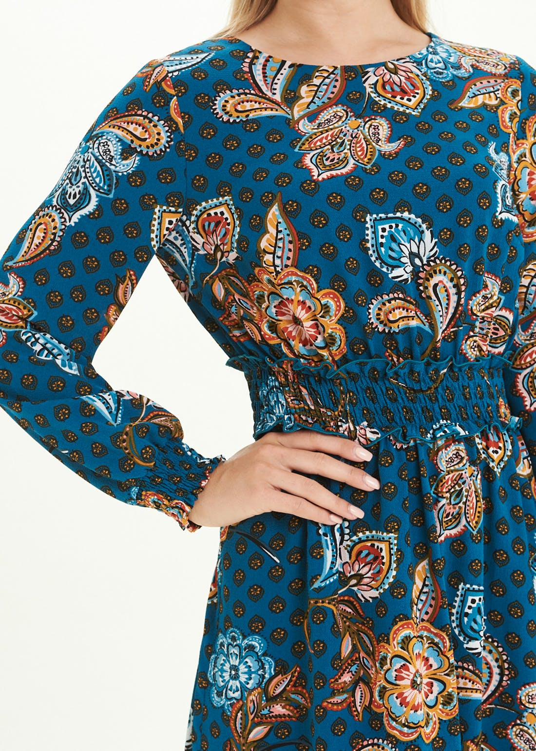 Teal Long Sleeve Floral Print Midi Dress