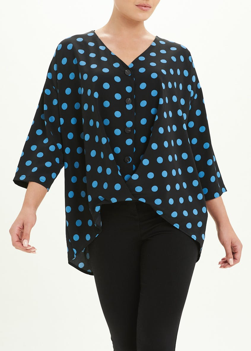 Polka Dot Twist Front Button Blouse