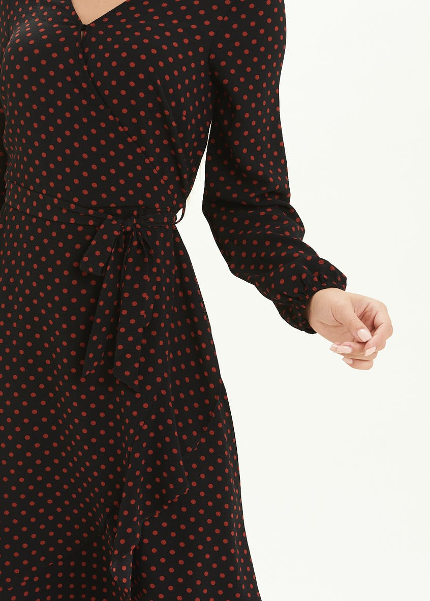 Black Long Sleeve Polka Dot Midi Dress