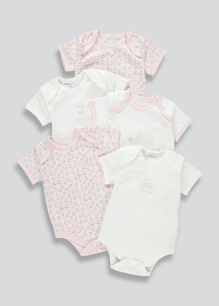 Girls 5 Pack Bodysuits (Tiny Baby-23mths)