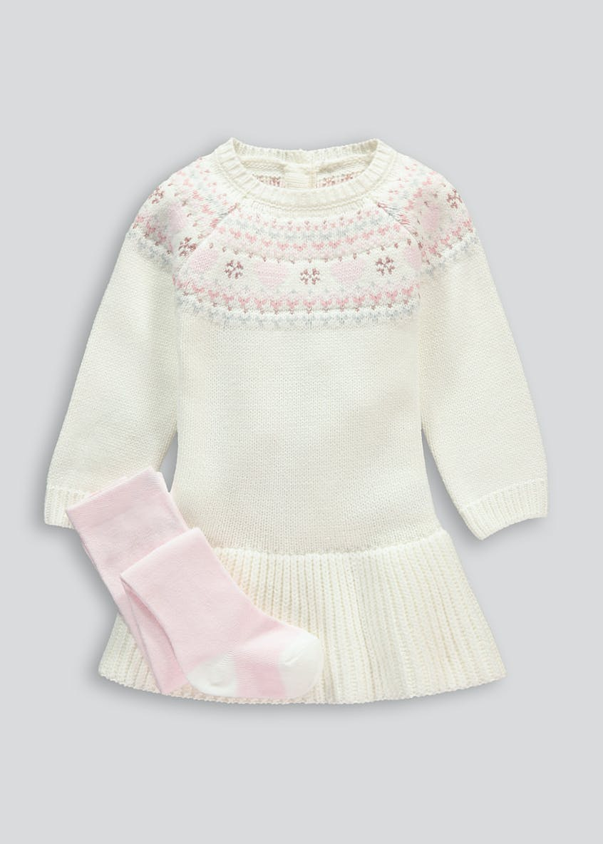 Girls Fair Isle Knitted Dress & Tights Set (Tiny Baby-18mths)