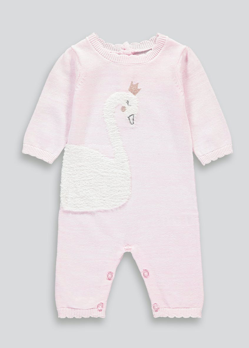 Girls Swan Knitted Romper (Tiny Baby-18mths)
