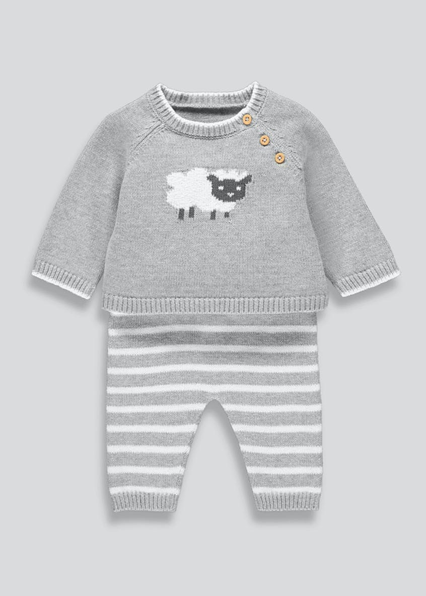 Unisex Knitted Sheep Set (Tiny Baby-18mths)