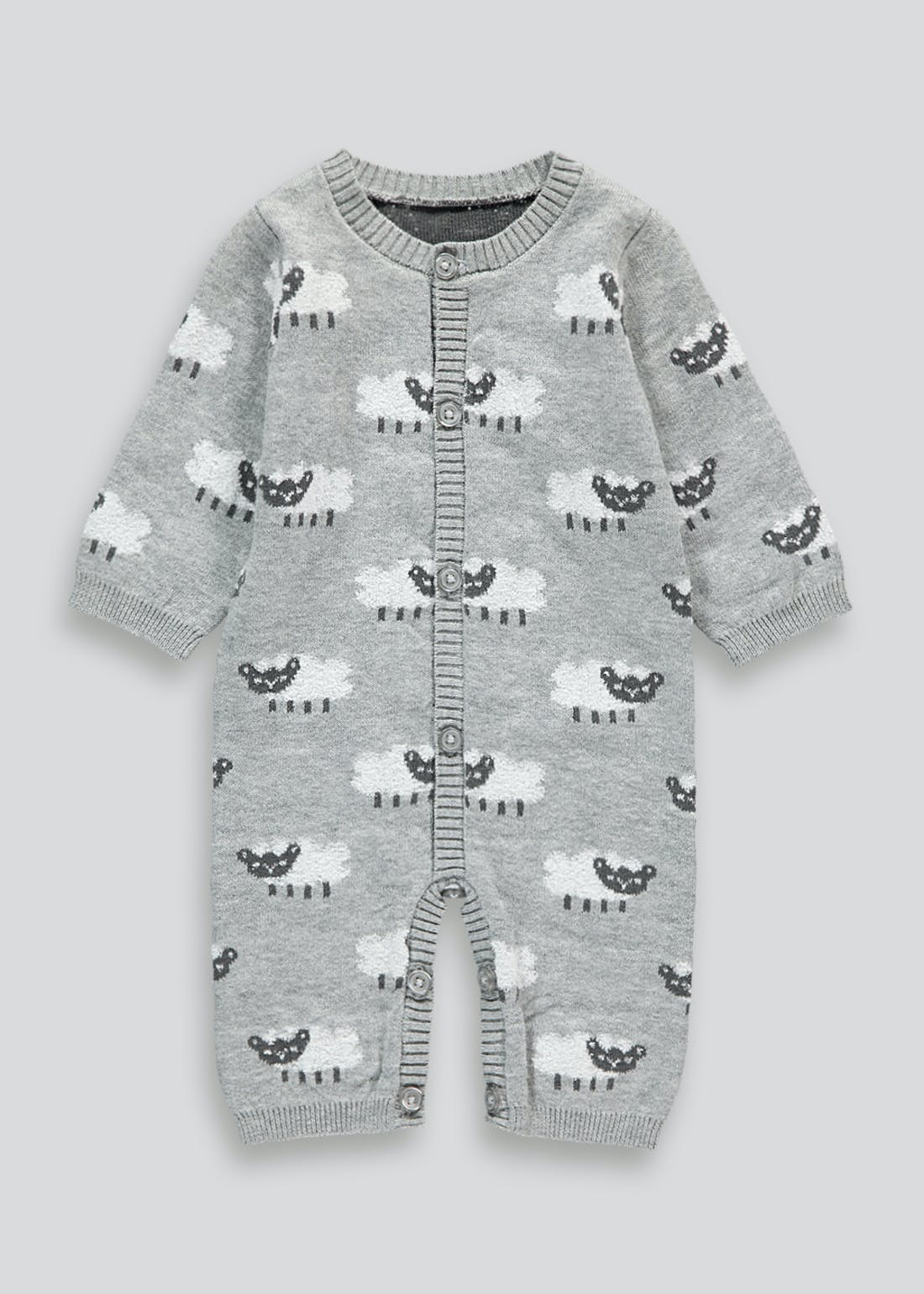 Unisex Knitted Sheep Romper (Tiny Baby-18mths)