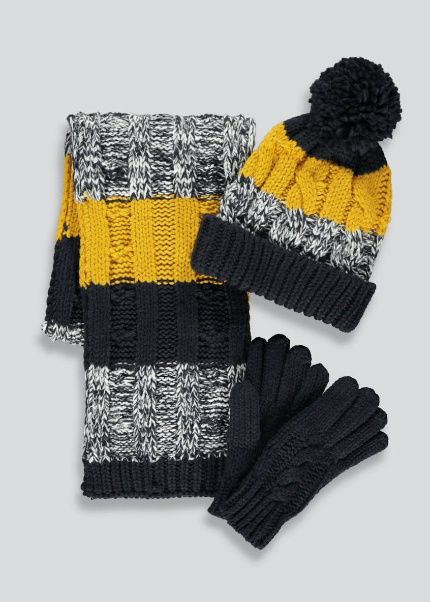 Boys Striped Cable Knit Hat Scarf & Gloves Set (7-13yrs)