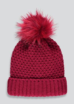 Faux Fur Pom Pom Bobble Hat