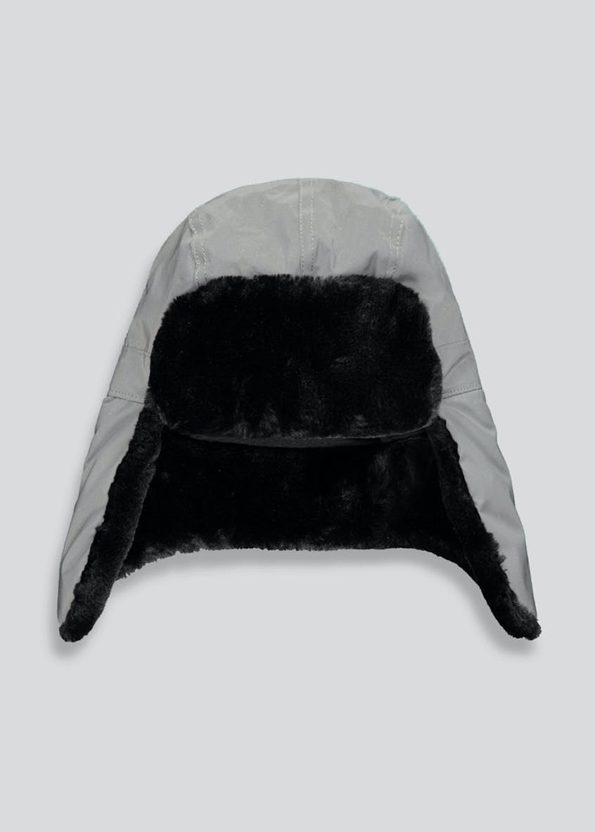 Boys Fur Lined Reflective Trapper Hat (7-13yrs)