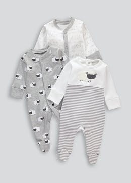 Unisex 3 Pack Sheep Baby Grows (Tiny Baby-18mths)