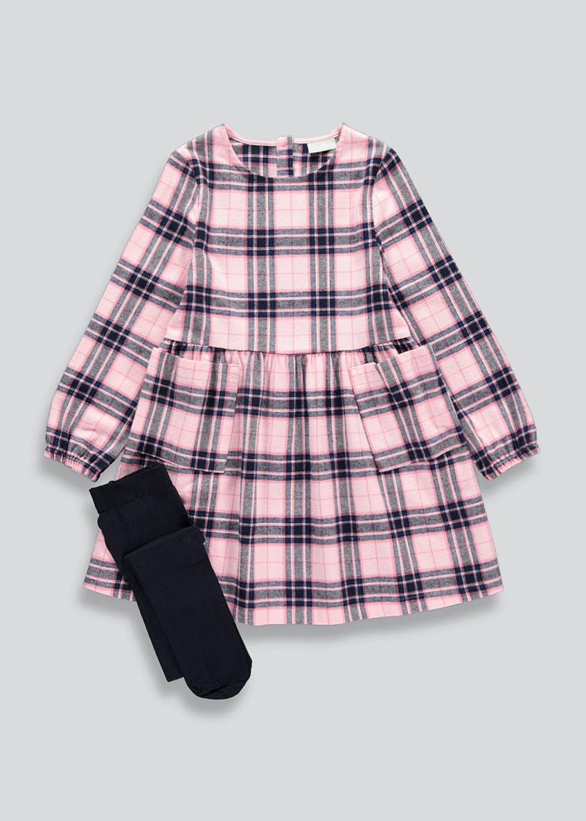 Girls Pink Check Dress & Tights Set (4-13yrs)