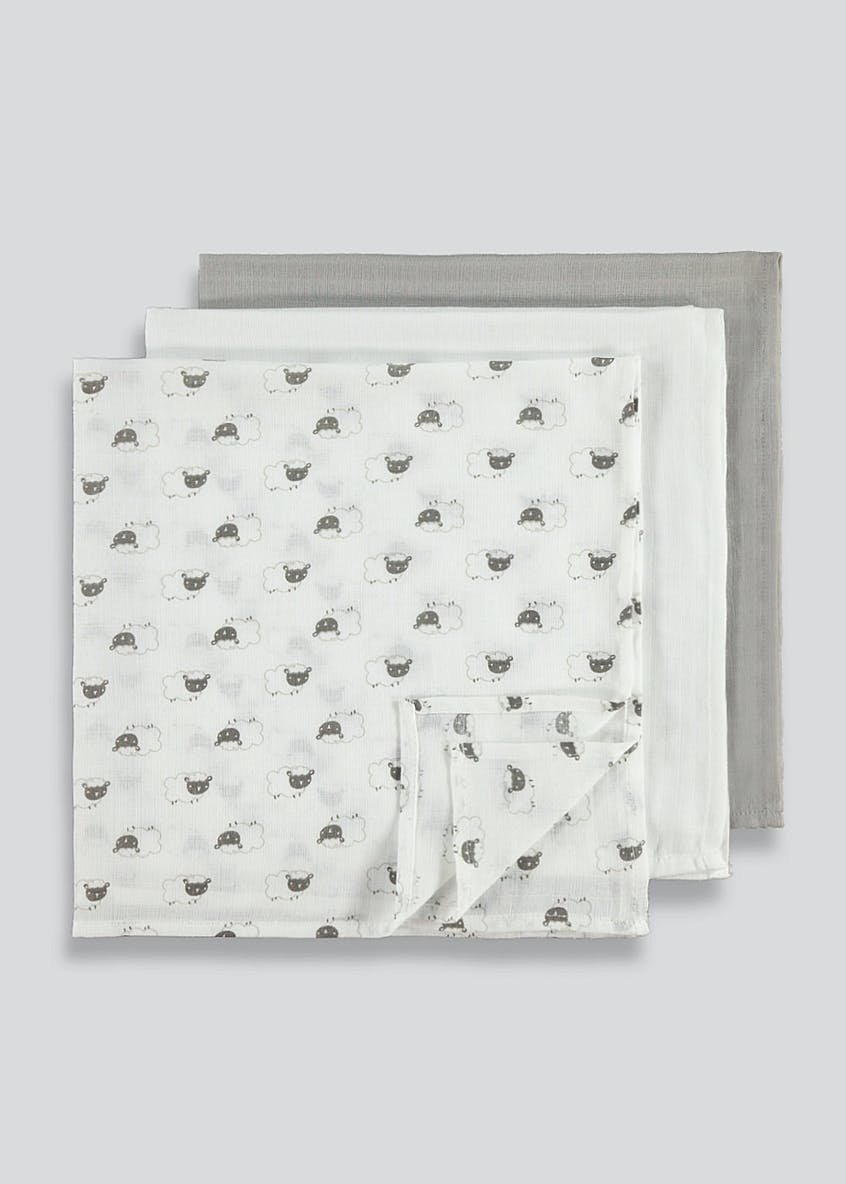 3 Pack Sheep Muslin Squares