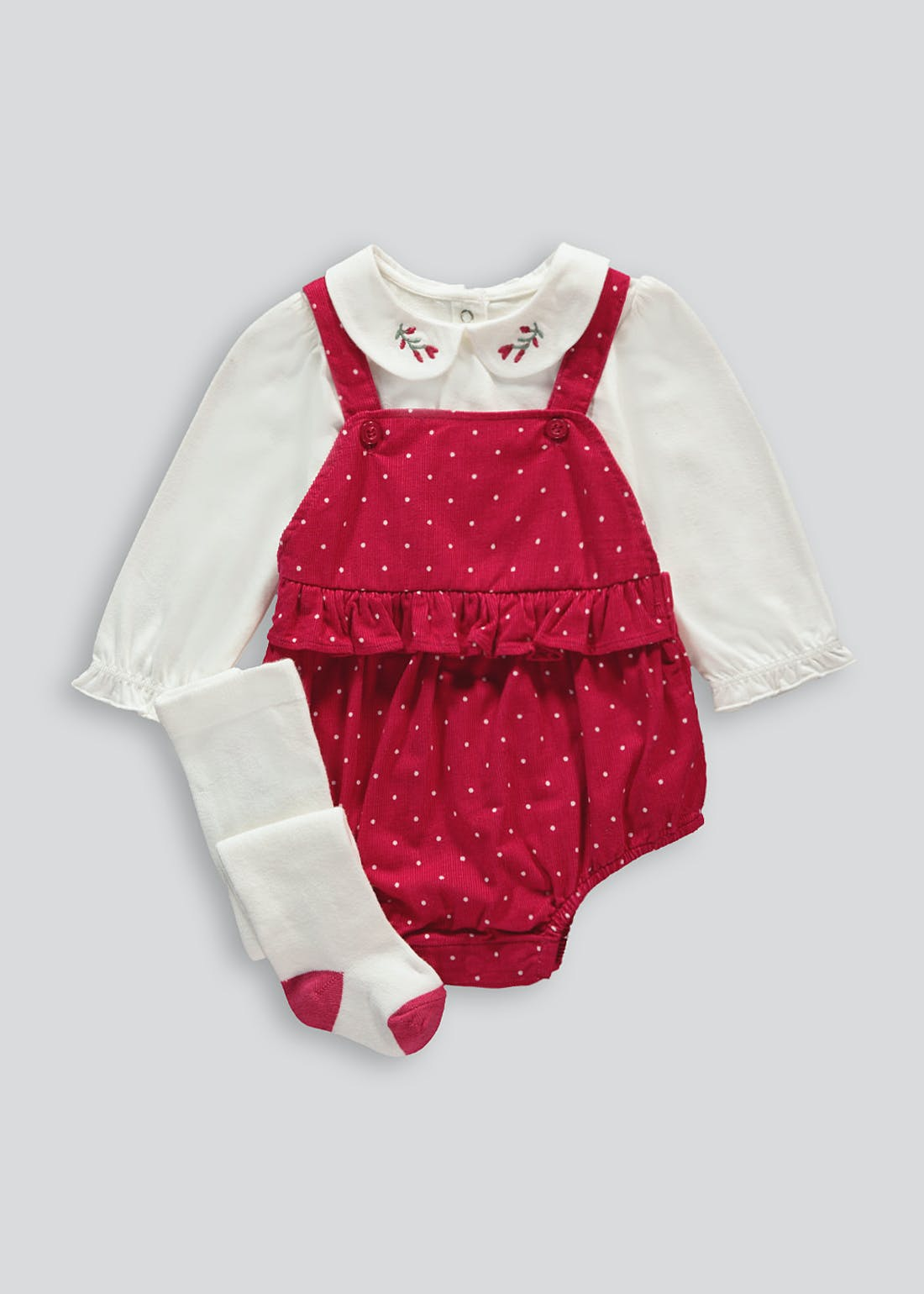 Girls Romper Top & Tights Set (Tiny Baby-18mths)