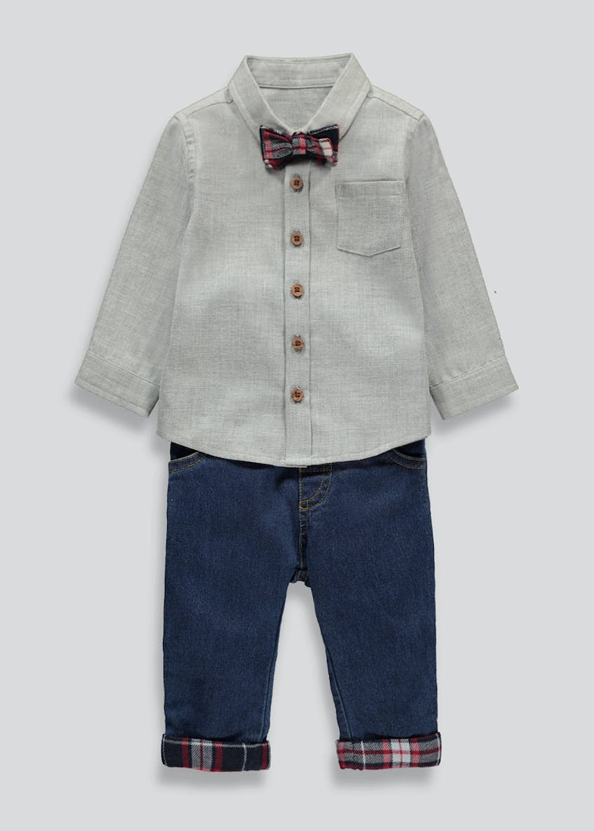 Boys 3 Piece Bow Tie Shirt and Jeans Set (Tiny Baby-18mths)