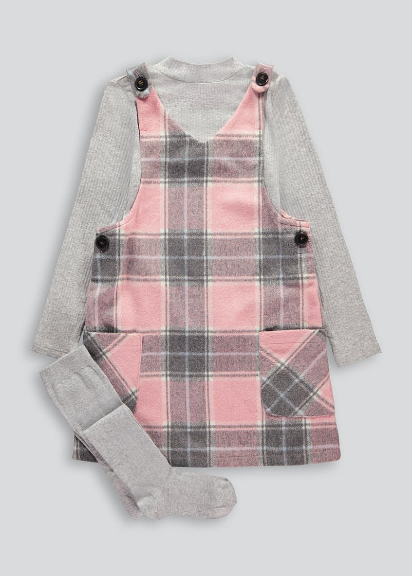Girls Check Pinafore Set (4-13yrs)