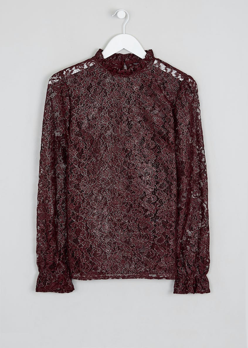 Burgundy Long Sleeve Metallic Lace Blouse