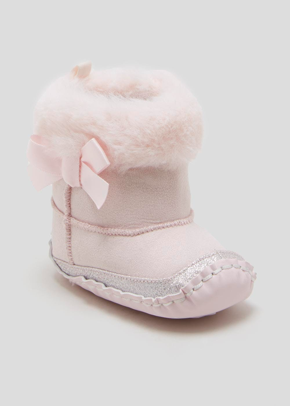 Girls Pink Soft Sole Baby Boots