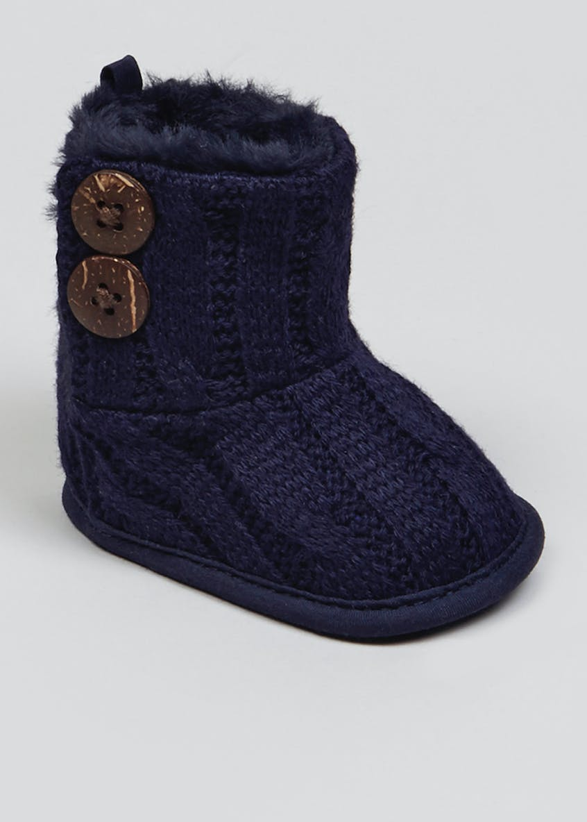 Unisex Soft Sole Cable Knit Boots (Newborn-18mths)