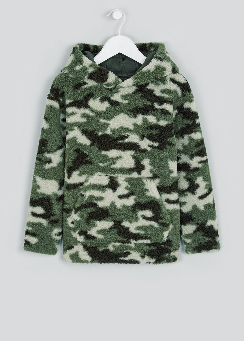 Boys Camo Borg Pull On Hoodie (4-13yrs)