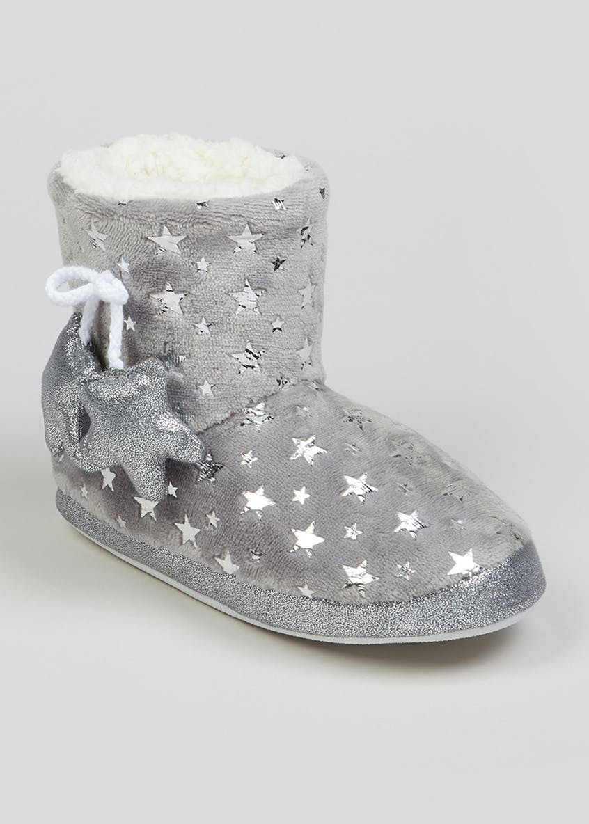 Grey Star Faux Fur Slipper Boots