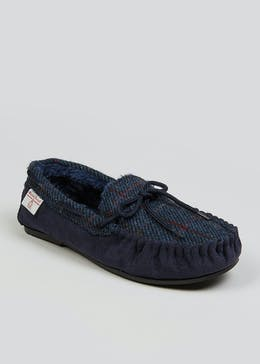 Navy Harris Tweed Slippers